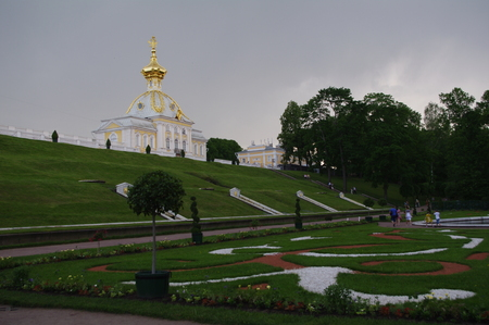 Stock Photo - Grand Peterhof Palace and The Grand Cascade and Samson Fountain