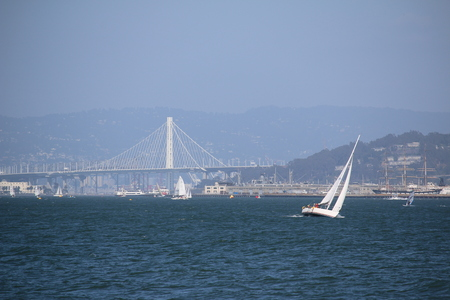 sailingboat: sailingboat in front of the Golden Gate Bridge, San Francisco, California, USA