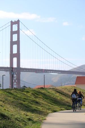 bicyclists: bicyclists on road  near the Golden Gate Bridge, San Francisco, California, USA