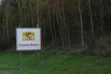 accomplish: State Bayern. road sign at the state borde. Freistaat Bayern. Stock Photo