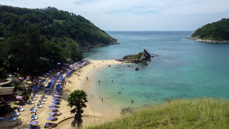 a view of Yanui Beach and Koh Kaeo Noi on Phuket island, Andaman Sea in South of Thailand.