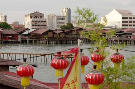 GEORGETOWN, MALAYSIA - MAY 29: closeup view of Hean Boo Thean Kuanyin Chinese Buddhist temple in Clan Jetties. Built on stilts over the harbor of George Town Editorial