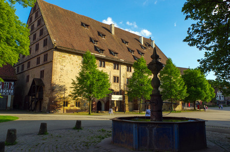 MAULBRONN, GERMANY - MAI 17, 2015: a Tudor style houses at the monastery courtyard in Maulbronn. Cistercian Monastery Maulbronn is part of the UNESCO World Heritage Site. Editorial