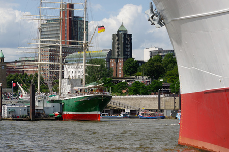 st pauli: HAMBURG, GERMANY - JULY 18, 2015: MS Cap San Diego is a general cargo ship, situated as a museum ship in Hamburg - St Pauli, Germany.