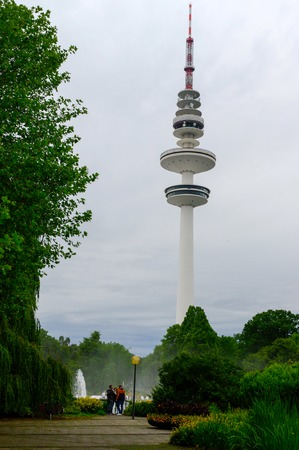 Hamburg, Heinrich-Hertz-Turm, Park near by the Center. the radio telecommunication tower at Hamburg, seen from the old botanic garden. 279 meters tall, it is the highest building at Hamburg.
