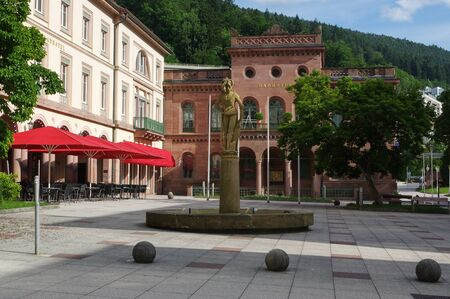 BAD WILDBAD, GERMANY - JUNE 28, 2015: the square Kurplatz, Palais Thermal former Badhotel, Baden-Wuerttemberg, Schwarzwald Black Forest Editorial