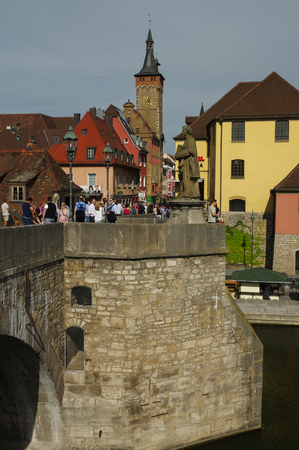bayern old town: Wurzburg, Germany - May 06, 2015: the View over the Old Main Bridge in Wurzburg.