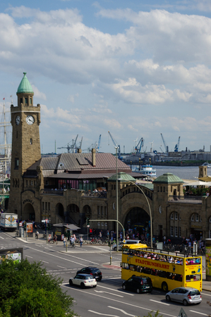 st pauli: HAMBURG, GERMANY - JULY 18, 2016: a Beautiful view of famous Landungsbruecken with commercial harbor and Elbe river with blue sky and clouds in summer, St. Pauli district, Hamburg, Germany