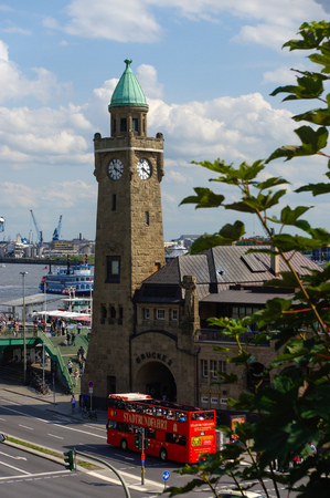 HAMBURG, GERMANY - JULY 18, 2016: a Beautiful view of famous Landungsbruecken with commercial harbor and Elbe river with blue sky and clouds in summer, St. Pauli district, Hamburg, Germany