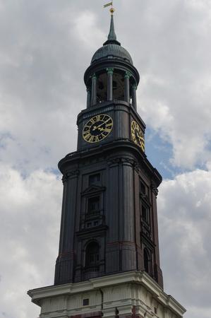 close-up St. Michael's Church - Hamburg s major landmarks. Germany Stock Photo