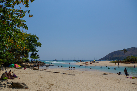 View to the Promthep cape from Naiharn Beach. Phuket island in Thailand