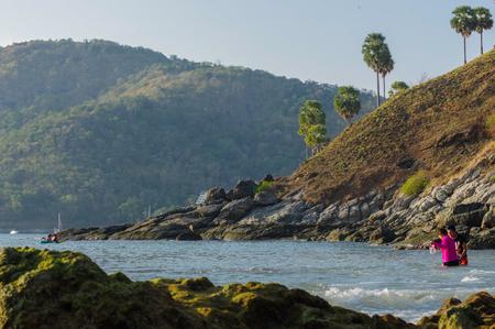 View of Yanui Beach and Koh Kaeo Noi on Phuket island, Andaman Sea in South Thailand. Stock Photo