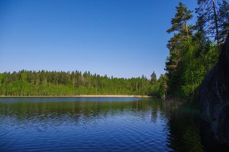 lake Yastrebinoye, Priozersky district in Leningrad region, Russia