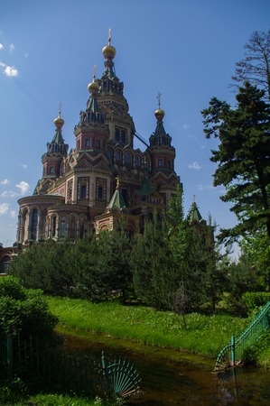 St. Peter and Paul's orthodox church in Russian city of Peterhof near St. Petersburg