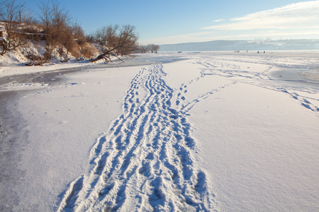 freezed: footprints in snow