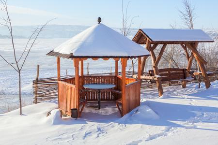 gazebo: wooden gazebo in winter Stock Photo