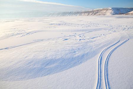 ski traces: ski traces on the snow