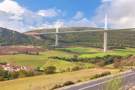 millau: the highest bridge in the world from  Millau town in France