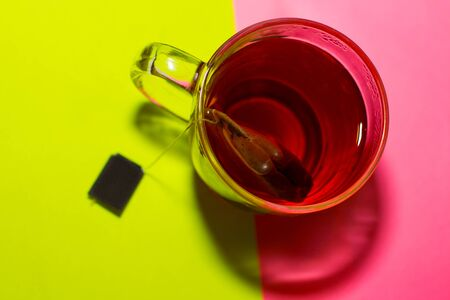 hot pink: cup with tea bag