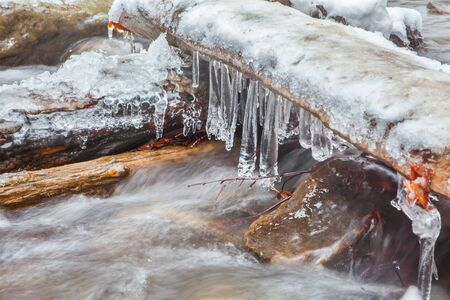water frozen: icicles over frozen water