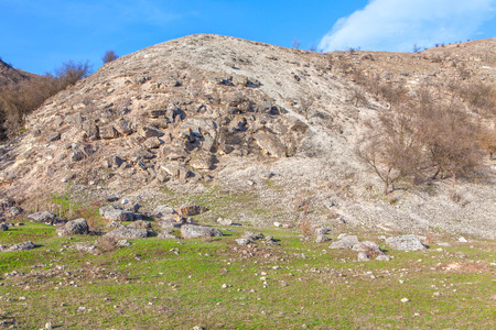relieved: rockfall on the hill Stock Photo