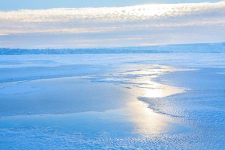 frozen lake landscape Stock Photo