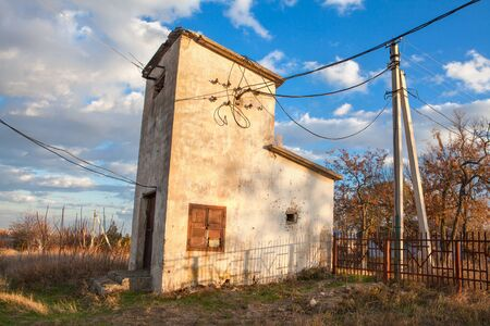 old transformer substation Stock Photo
