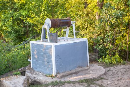 rural area: water well in rural area Stock Photo