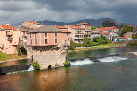 millau: House built on the river Stock Photo