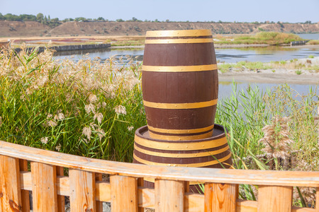 hogshead: Decorative wooden barrel