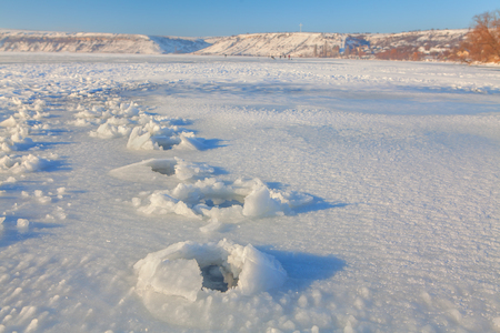 coolness: footprint on the ice Stock Photo