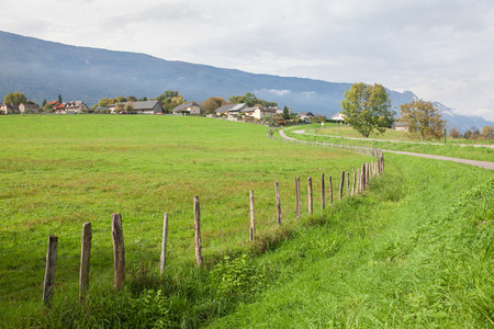 green meadow and village