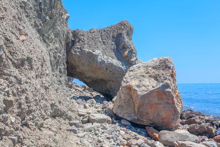 rockfall on the seashore Stock Photo