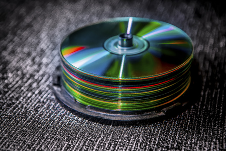 pile of compact discs Stock Photo