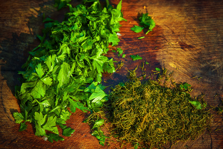 fresh parsley and dill Stock Photo