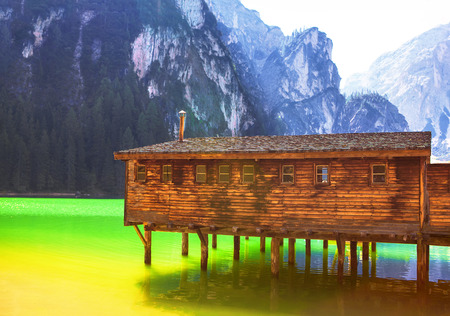 wooden cottage on the lake Stock Photo