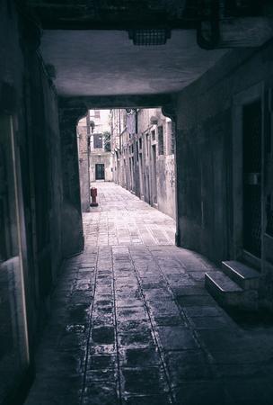 narrow street tunnel