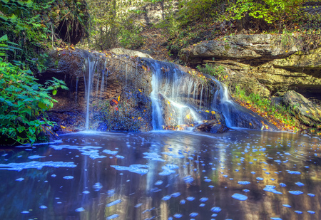 natural water cascade in the forest