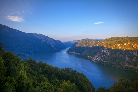 Scenery of flowing Danube in the morning