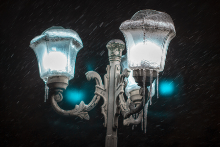 street lamps in the winter night