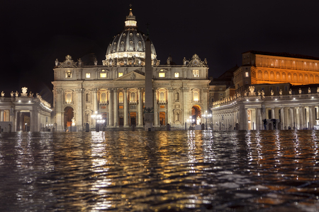 St. Peter Square in Vatican in rainy night