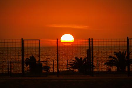 big sun over the sea in the evening Stok Fotoğraf