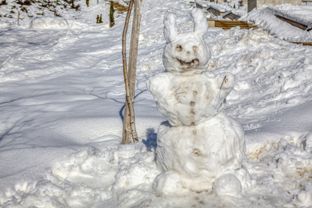 ugly snowman with big snowy ears