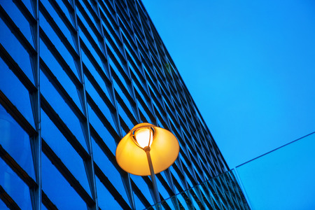 street lamp and modern building