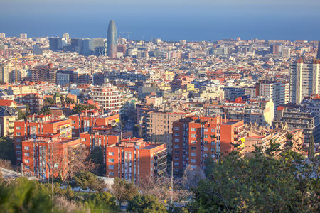 aerial image of Barcelona city from Spain