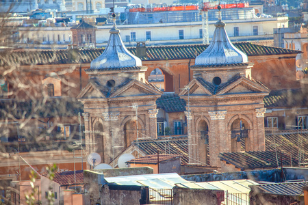 old Rome city,view of cupolas and roofs