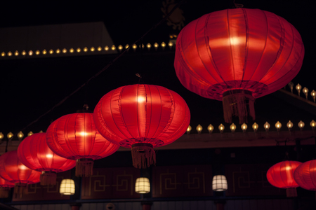 chinese red  lamps on the street
