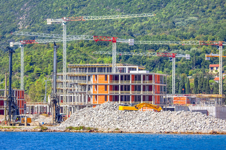 construction of modern hotel on the seashore