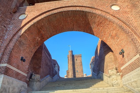 medieval tower Karnan is attraction of Helsingborg city from Sweden