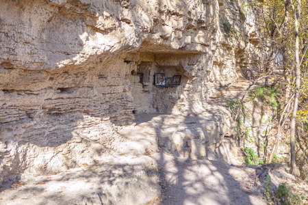 Monks cell carved in a cliff